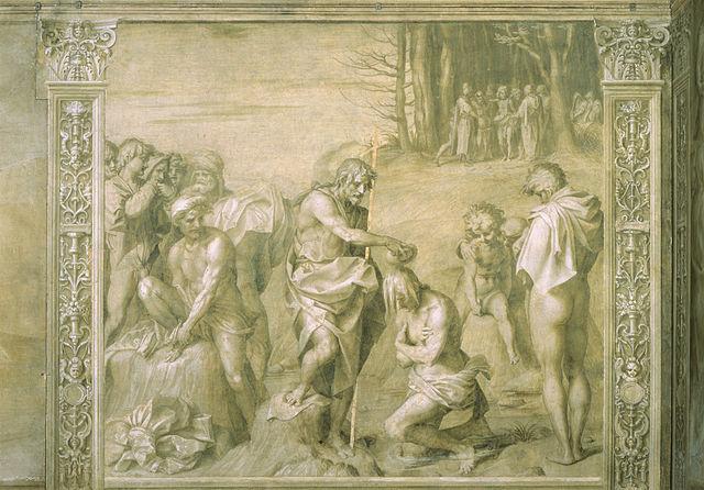 Battesimo della gente, (Baptism of the People), by Andrea del Sarto.  Click to enlarge. Wikimedia Commons.