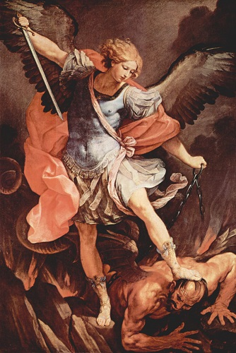 Painting of the Archangel Michael defeating Satan, by Guido Reni. Click to enlarge. See below for provenance.