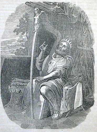 David playing the harp. Click to enlarge. See below for provenance.