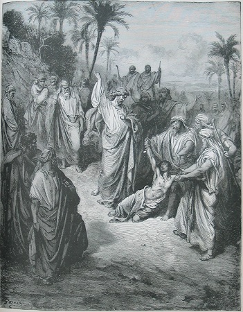 'Jesus Healing the Lunatic' by Gustave Doré.  Click to enlarge. See below for provenance.