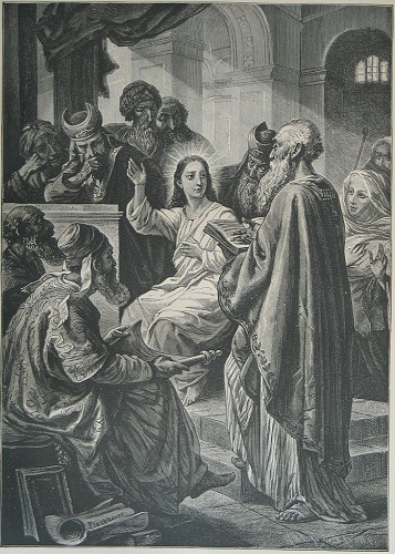 Jesus in the Temple at age 12. Click to enlarge. See below for provenance.