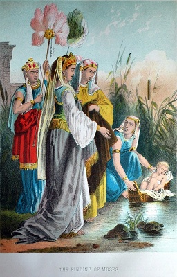 Moses in the bulrushes. Click to enlarge. See below for provenance.