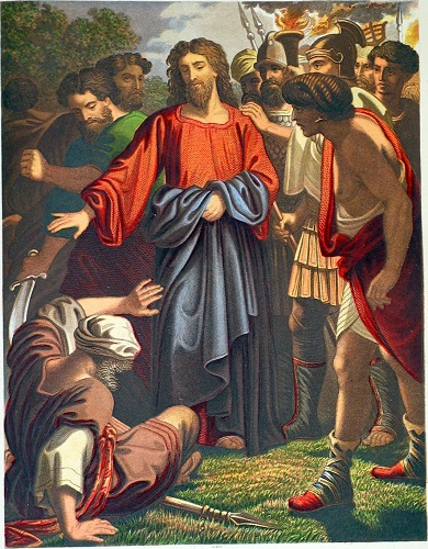 Jesus stops Peter's attack on the servant. Click to enlarge. See below for provenance.