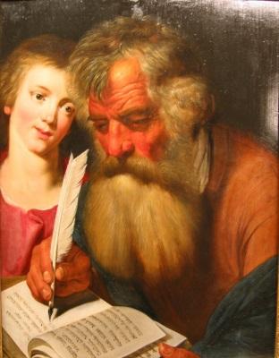 Saint Matthieu, by Artus Wolffort, 1620, Musée des beaux-arts et d'archéologie de Besançon.  Click to enlarge.