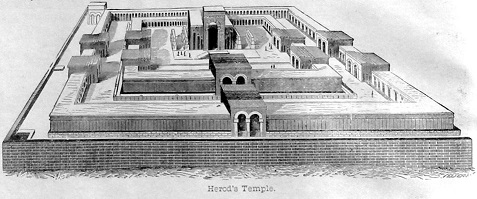 Drawing of Herod's Temple. Click to enlarge. See below for provenance.