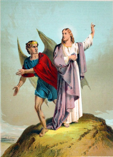 Jesus being tempted by Satan, the Devil.