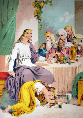 An unknown woman washed Jesus' feet with her tears. Click to enlarge. See below for provenance.